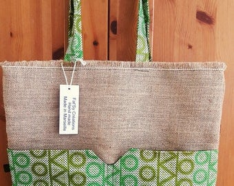 Lurex and wax burlap bag