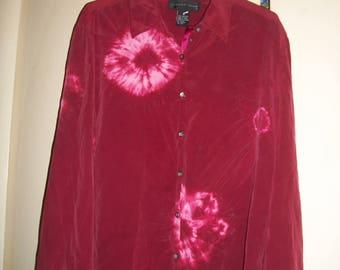 Vintage 90's Burgundy Silk, Tie Dye Blouse Size M