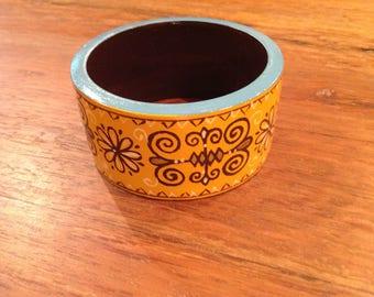 Vintage Painted Wood Bangle Bracelet, Abstract Floral/India Design