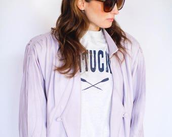 Vintage 80s lilac leather jacket  UK 10