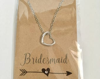 Bridesmaid Heart Necklace Thank You Gift Silver Plated