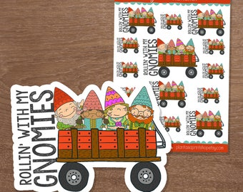 Rollin' With My Gnomies, Gnome Stickers, Planner Stickers, Hand Drawn Doodles, for Erin Condren, Happy Planner, Pocket Planner, A5 Planner