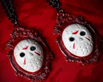 Jason Necklace - Cameo Necklace - Friday the 13th - Cameo - Jason mask - 30x40