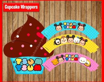 Tsum Tsum Cupcakes wrappers, Printable Tsum Tsum wrappers, Tsum Tsum party Cupcakes wrappers Instant download