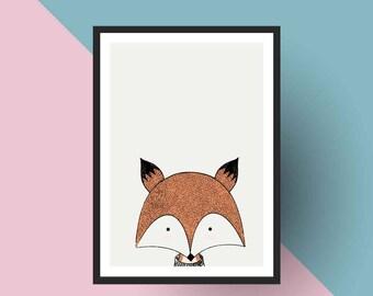 Nordic Print   PRINTABLE Scandinavian Fox - Nursery art