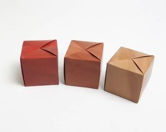 Cube Box, guest favour, wedding favour, reception, faux bois, wood