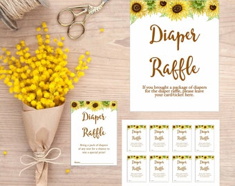 Sunflower Diaper Raffle cards tickets, Diaper Raffle Sign, Printable Digital Download, gla0023