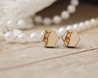 Llama Wooden Stud Earrings | Llama | Laser Cut | Illustration | Hand Drawn | Handmade Jewelry | Earrings