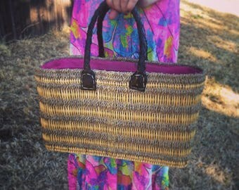Wicker and Leather woven Purse/ beach bag