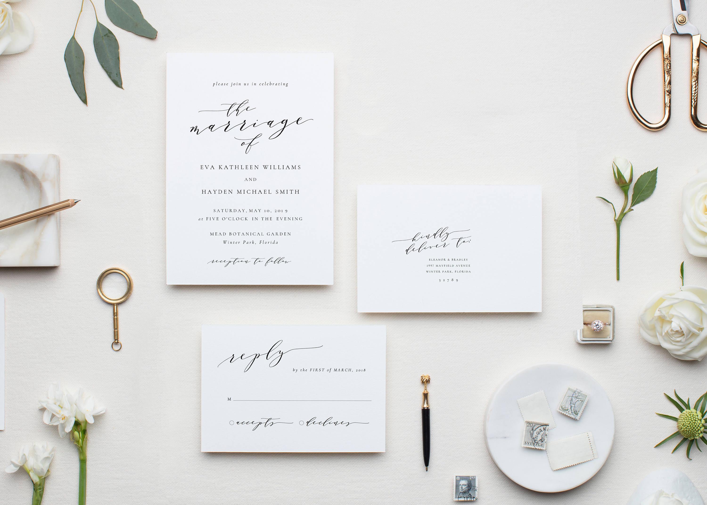 Melia: 3-Piece Printable Wedding Invitation Template, Reply Card ...
