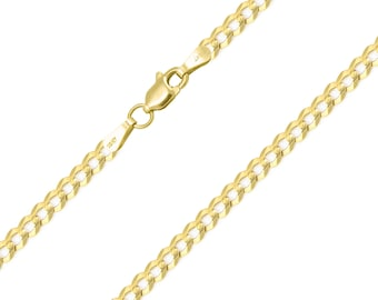 "10K Solid Yellow Gold Cuban Necklace Chain 3.0mm 16-30"" - Round Curb Link"