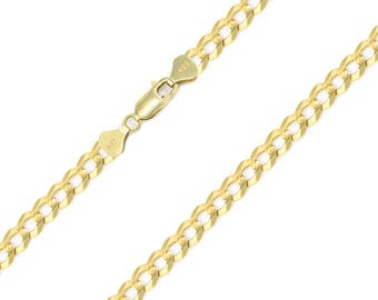 """14K Solid Yellow Gold Cuban Necklace Chain 5.0mm 18-30"""" - Round Curb Link"""