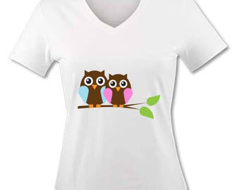V neck women T-shirt - Owls is OWL