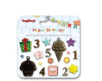 Set of decorative brads Happy Birthday