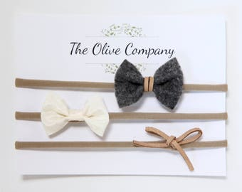 The Lennon - A collection of three handmade bows on nylon headbands or metal clips