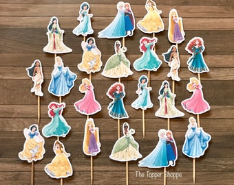 DISNEY PRINCESS Cupcake Toppers / Cake Toppers / Die Cuts / Birthday Party / Decorations / Cake Pops / Supplies / Decor / Scrapbook
