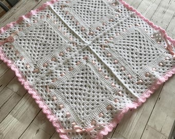 Crochet baby blanket, ready to ship, pink and white, perfect new baby/baby shower gift