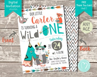 First Birthday Wild Tribal Invitation/TRIBAL Birthday/Wild ONE/Panda Boy Birthday Party/Printable Invitation/Digital/DIY decor/Fox birthday