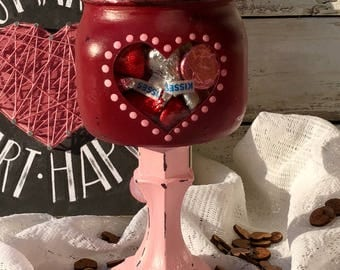 Valentines Day Candle Stick Candy Jar
