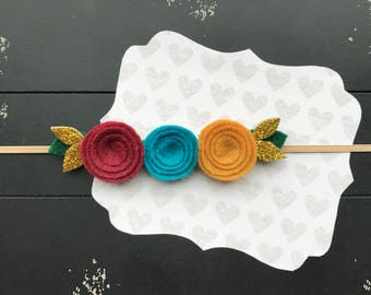Minty small rose headband