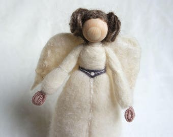 Needle Felted Leia - Angel Tree Topper - Christmas Gift for Geek - Princess Leia Angel - Nerd Christmas Gift - Sci Fi Gift - Made to Order