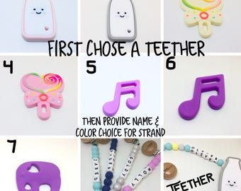 Select a silicone teether - personalize with a name - silicone beads  - chew beads soother - newborn gift - sensory toy - pacifier- shower