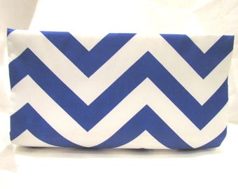 Blue and White  Chevron Clutch, Striped Clutch, Navy Blue Clutch, Colorful Clutch, Trendy Summer Clutch, Unique Purse, Medium Classy Clutch