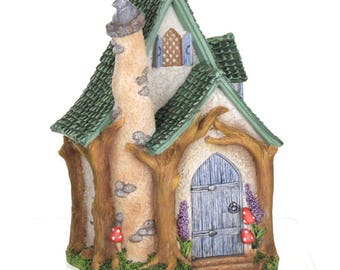 Woodland Cottage, Fairy House, Fairy Garden Accessory, Fairy Cottage, Fairy Dwelling, Fairy Garden