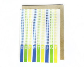 Happy Birthday Letterpress Greeting Card, Dotted Colorful Candles in Green and Blue and Yellow