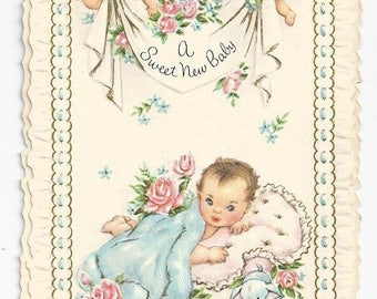 "On Sale 1940s Sweet and Adorable Baby Card ""A Sweet New Baby"""