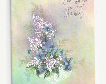 "On Sale 1960s Floral Birthday Card ""Just for You on Your Birthday"""