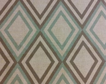 Home decor fabric, brown and sea green fabric, tan fabric, diamond print fabric, fabric remnant, fabric, home decor, sea green decor