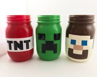 Minecraft Creeper Mason Jar Personalized TNT Enderman Steve