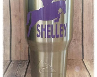Personalized Horse Decal/Horse Jumping Decal/Equestrian Decal/Horse Decal/Yeti Decal/Horse Sticker