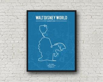 "Disney Marathon race route, Marathon map art, gift for marathoner, gift for runner, 26.2 miles, marathon wall art print, 8x10"""