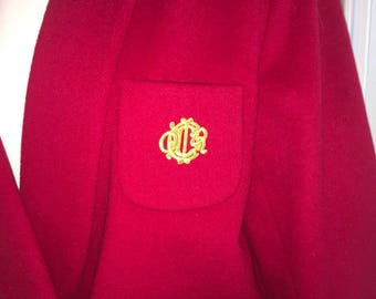 Vintage Christian Dior Red and Gold Coat 80's or 90's size 4