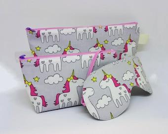 Large and Small Unicorns Cosmetic Cases & Sleep Mask Gift Set
