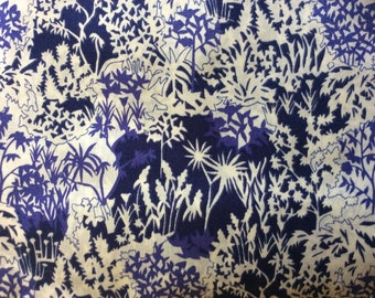 Tana lawn fabric from Liberty of London, Paper garden indigo.