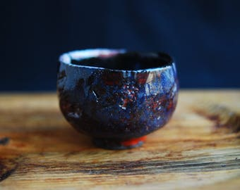 Ceramic raku teabowl for tea ceremony