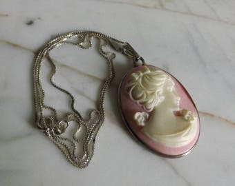 Vintage Pink Sterling Silver Cameo on Sterling Chain