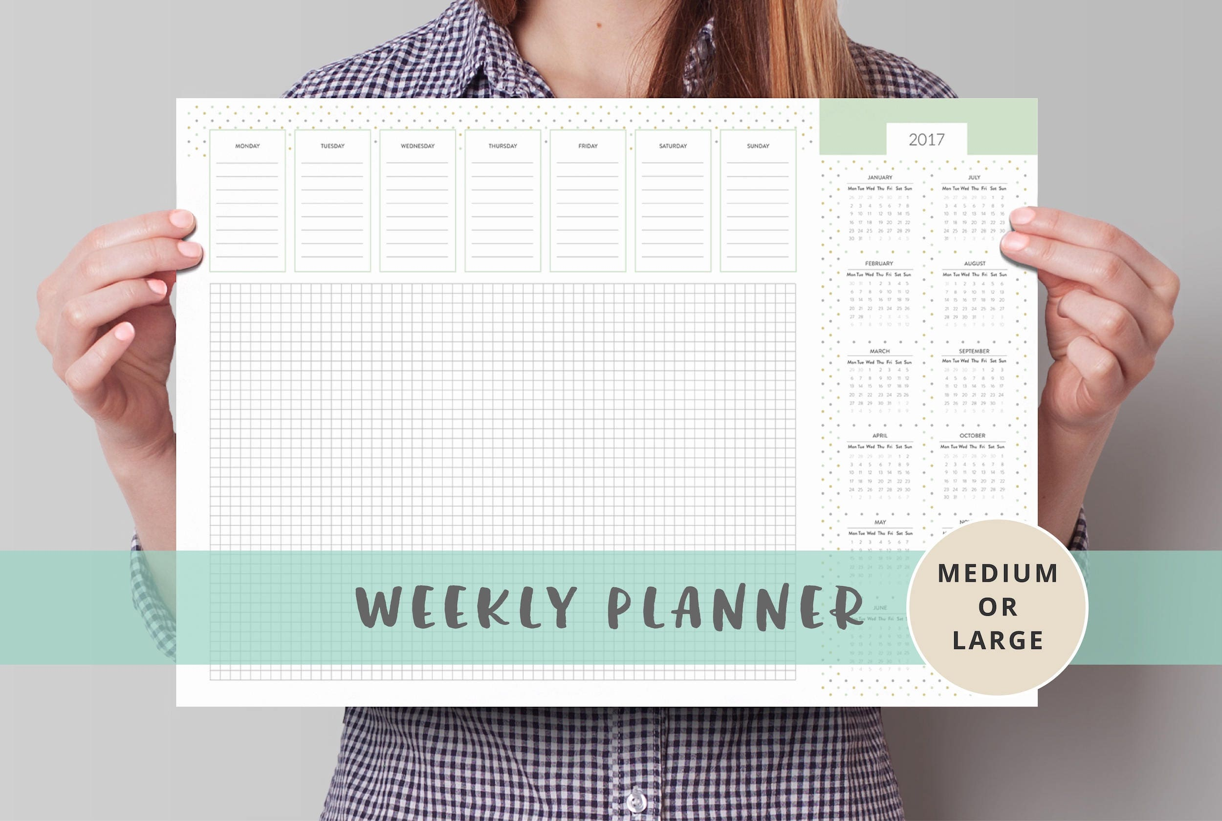 Monthly Weekly Planner Desk Pad A2 A3 Desk Pad Calendar With