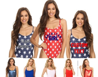 Patriotic Swimsuit - Stars and Stripes One Piece Swimwear - Star Bathing Suit- Team America Swimwear - American Girl Bathing Suit