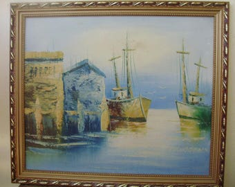 Vintage   painting,picture, Sailboats in harbor, framed