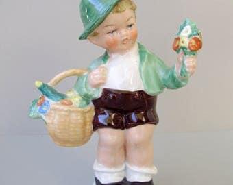 Vintage, German Porcelain child figurine,little boy,hand painted