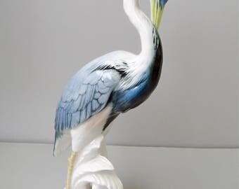 Large Vintage German Karl Ens porcelain bird figurine,crane,hand painted,stamped