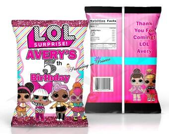 Digital LOL Surprise Dolls Chip Bag, Favors Bags, Printable Treat Bags, You Print Chip Bags, Party Printable, LoL Birthday Party, Chip Bags