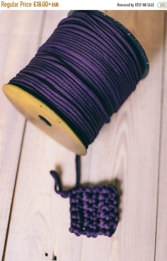 SALE 30 % PURPLE yarn, colored rope, polyester cord, chunky yarn, diy crafts, craft supplies, diy projects, craft yarn, rope cord. #204