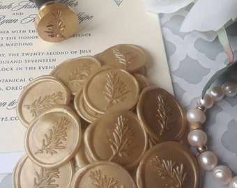 Rustic blush greenery leaves rosemary Boho Chic wedding party invitation self adhesive wax seal peel sticker 5 pcs