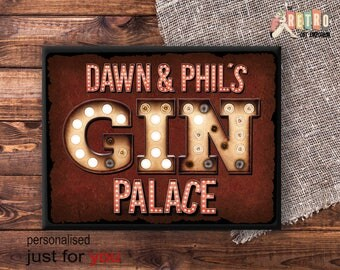 Custom Gin Sign, Metal Wall Plaque, Metal Wall Sign, Gin Palace, Retro Style, Personalised Gin gift, kitchen decor, Gin And Tonic, Gin Gift