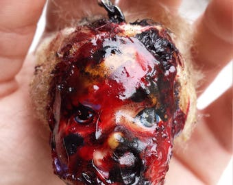Zombie barbie head horror keychain,must see,free shipping!